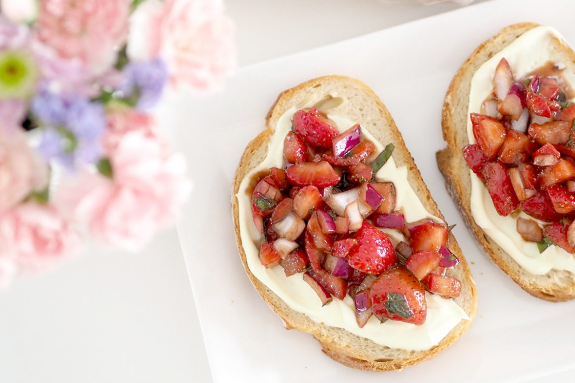 Bruschetta is traditionally made with tomatoes, but this Strawberry Bruschetta is a super quick and tasty breakfast idea for the holidays.