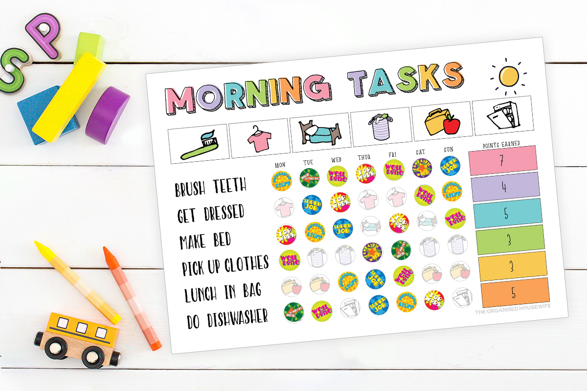 Morning sticker task for school kids to get organised