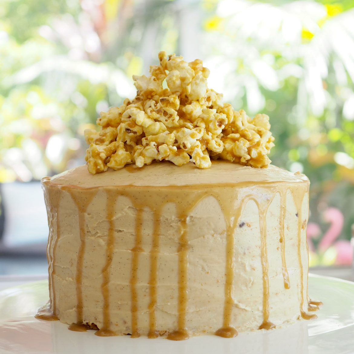 A creative way to decorate a Coles or Woolworths Mudcake which transformed into my Super Easy Salted Caramel Popcorn Cake.