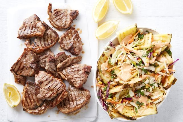 Quick garlic lamb with chargrilled pineapple slaw