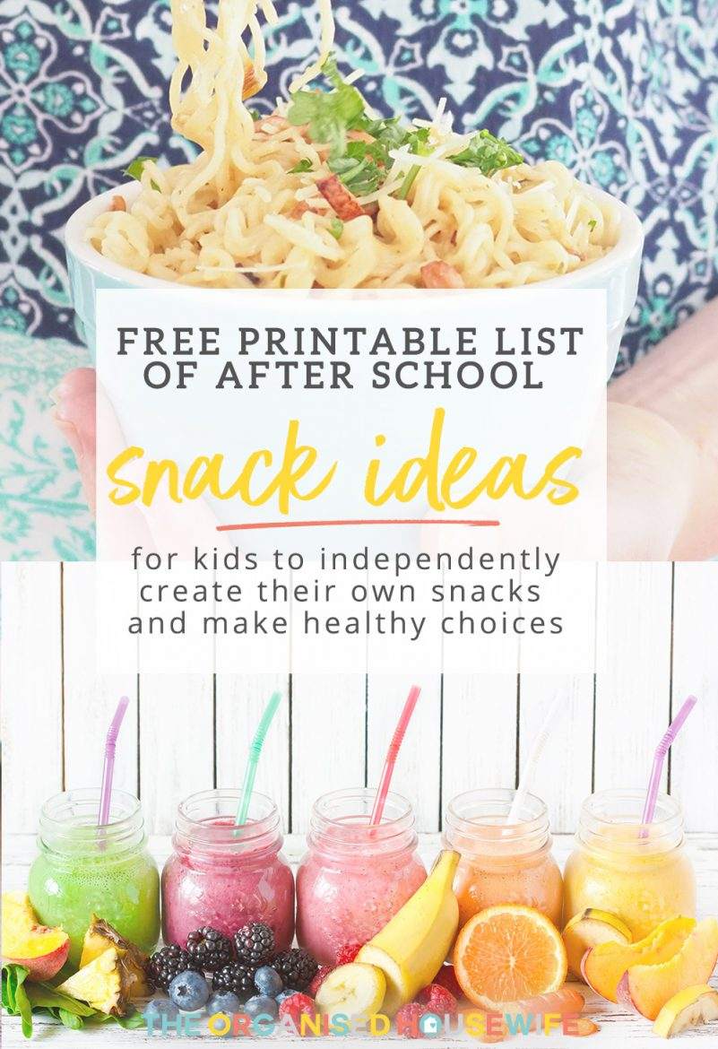 Printable list of After School Snack Ideas for you to put on your fridge or back of your pantry door to help you plan ahead to fill the fridge and pantry, ready to feed your hungry kids.