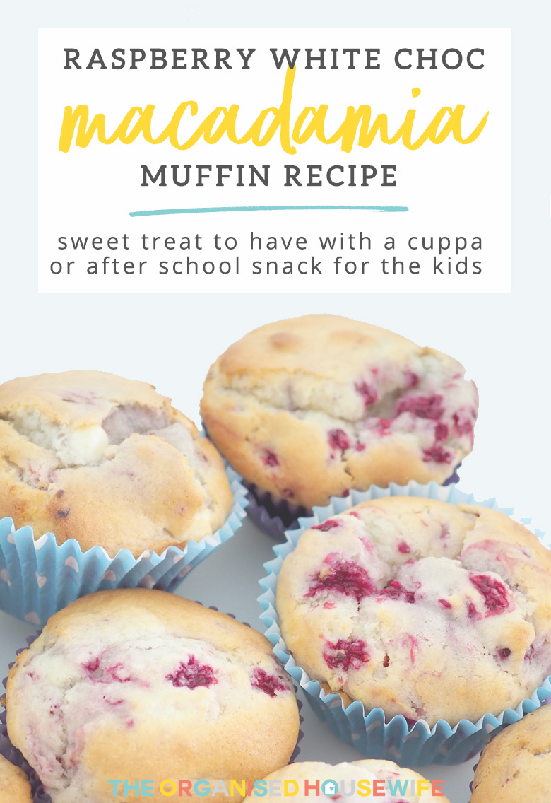 TheseRaspberry White Choc Macadamia Muffins are a nice sweet treat to have with a cuppa or give to the kids as an after school snack.