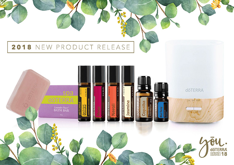 New doTERRA 2018 Product Release in Australia - Neroli Touch, Copaiba Essential Oil, Jasmine Touch, Rose Touch, Blue Tansy, Lumo Diffuser, Manuka Touch, Lavender Peace Bath Bar, oils to help reduce anxiety and promote relaxation.