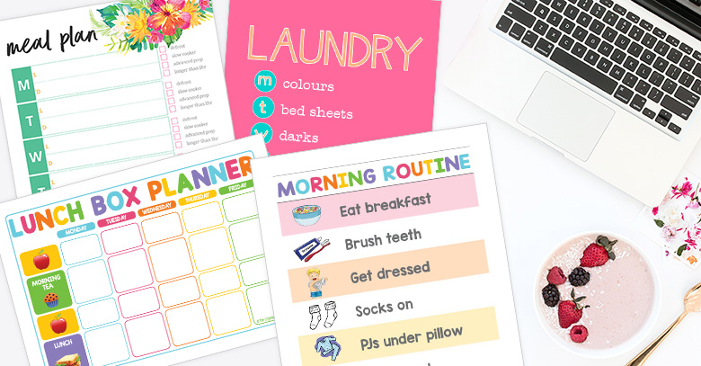 Creating systems and routines to get back the control of our home and ultimately be a happier version of me!I I use these printables each day to help keep my household organised.