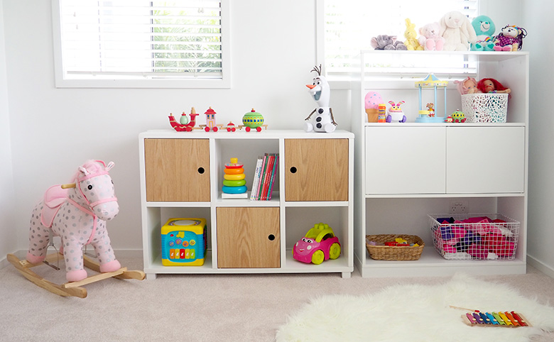 Cube storage for kids room, clothing and toys