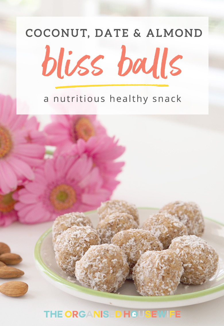 These Coconut, Date and Almond Bliss Balls are a delicious and nutritious healthy snack which will help satisfy your sweet cravings and are super easy to make!