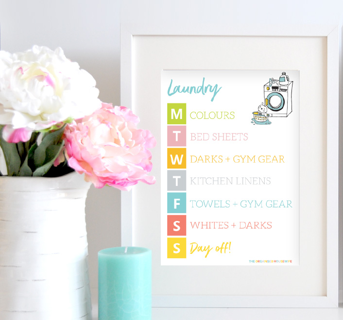 LAUNDRY SCHEDULE - I have this schedule framed in my laundry, it helps me keep on top of the washing and reminds me which load needs to be run each day, saving my sanity so I don't have to deal with Mt Washmore.
