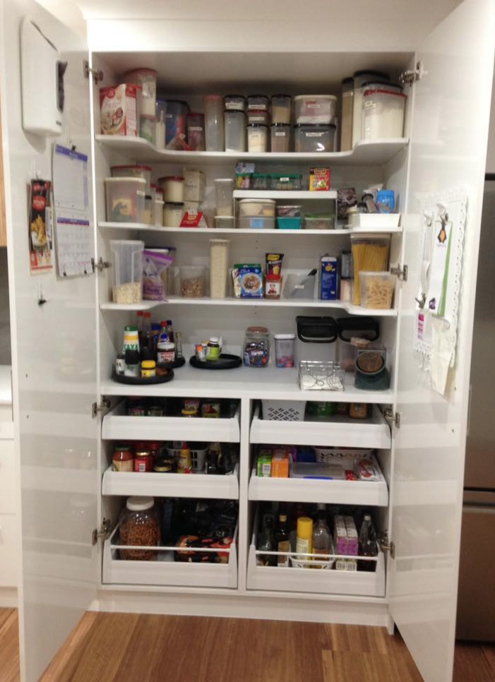 Kitchen pantry storage ideas. Organise and tidy the kitchen.