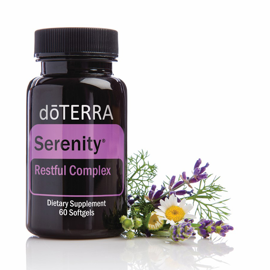 d?TERRA Serenity Restful Complex is a unique combination of Lavender essential oil and natural plant extracts in a vegetarian softgel to help you get the refreshing sleep you need without leaving you feeling groggy and sleepy the next day.* d?TERRA Serenity Restful Complex combines the well-researched, relaxing benefits of Lavender essential oil and L-Theanine along with lemon balm, passionflower, and chamomile to gently promote relaxation and sleep.*