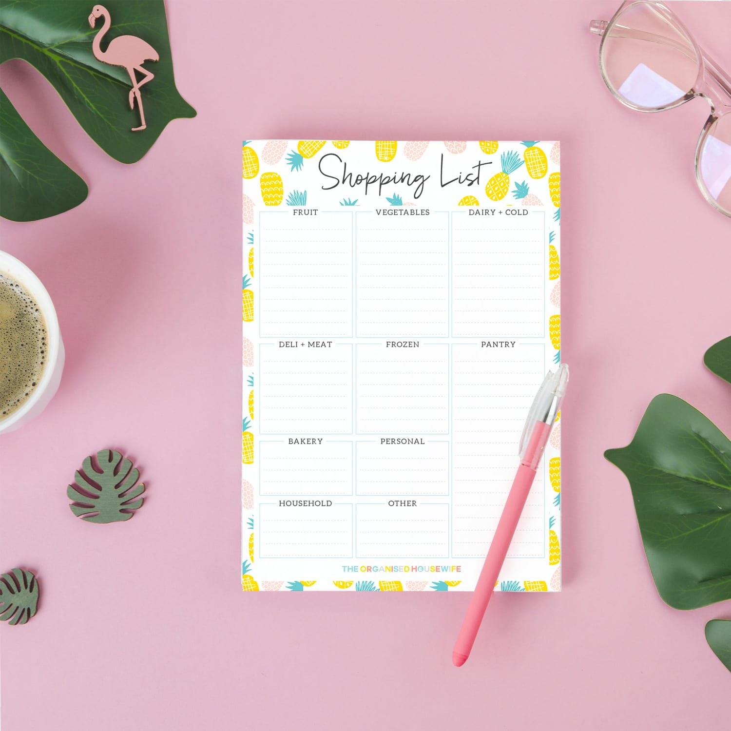 Pineapple shopping list notepad for meal planning