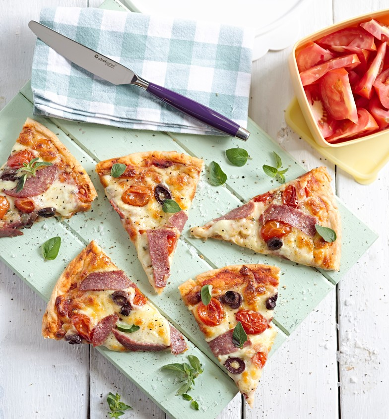 Nothing beats homemade pizza dough if you have the time to make it.  It's budget friendly, fun to roll out with the kids and as you can control the ingredients you can make it as healthy as you like.