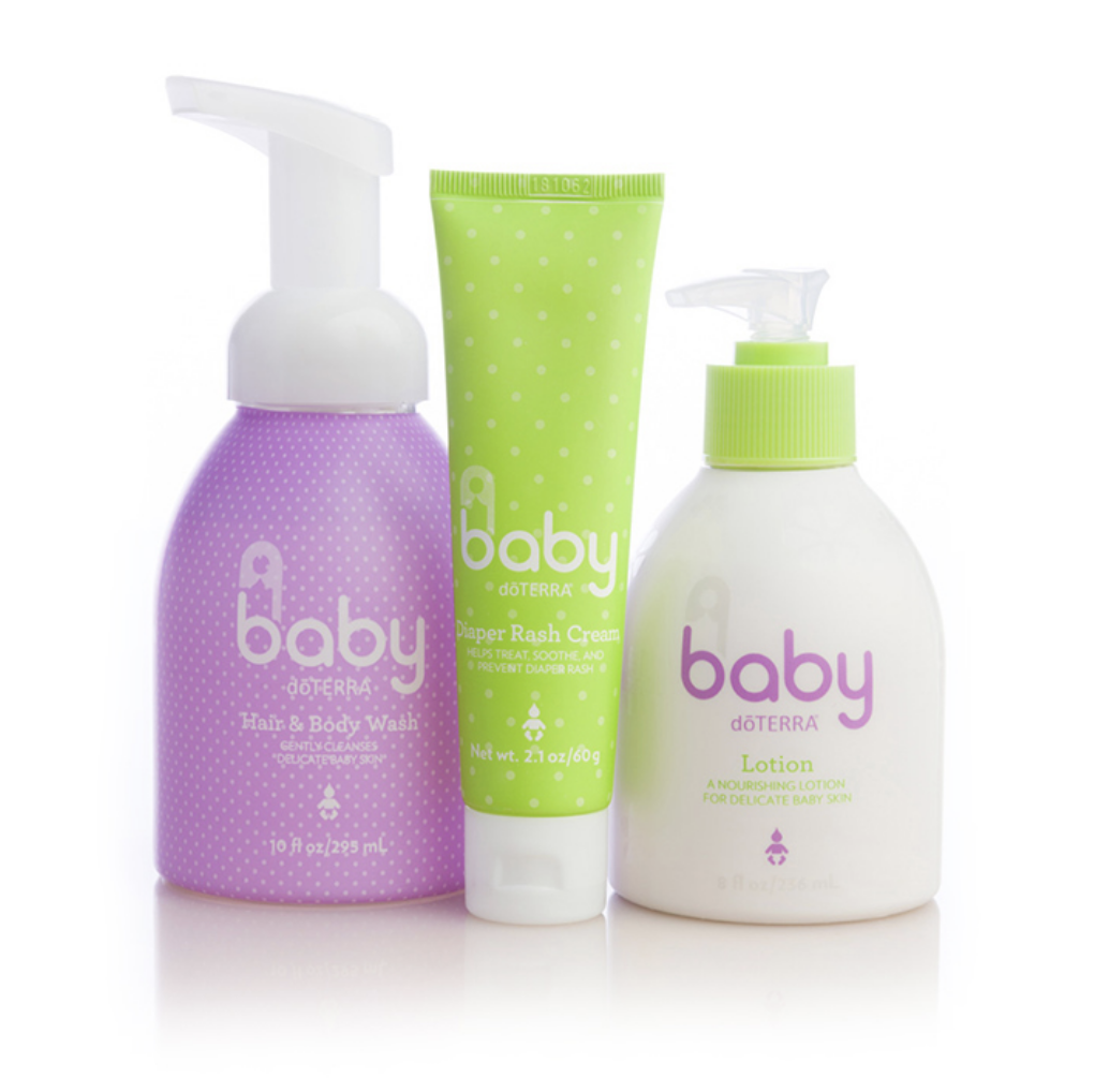doTERRA Baby Collection is a safe, effective, natural way to cleanse, moisturize, and care for your baby. The calming blend of essential oils will leave your baby, and even big kids, with a light clean scent.