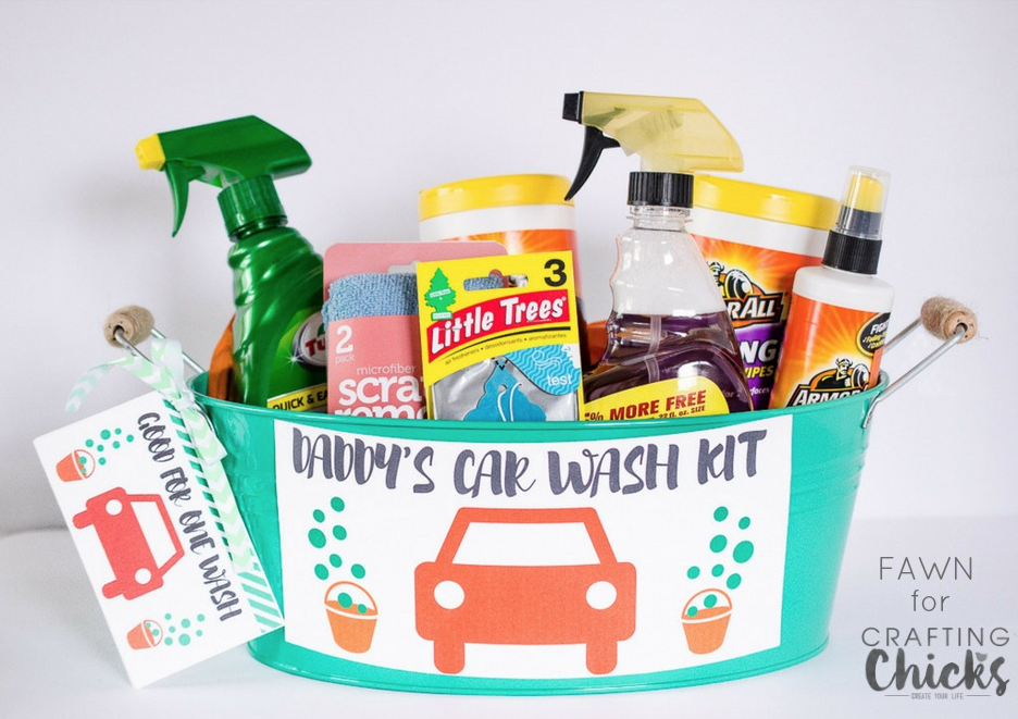 Fathers day handmade gift idea - daddys car wash kit