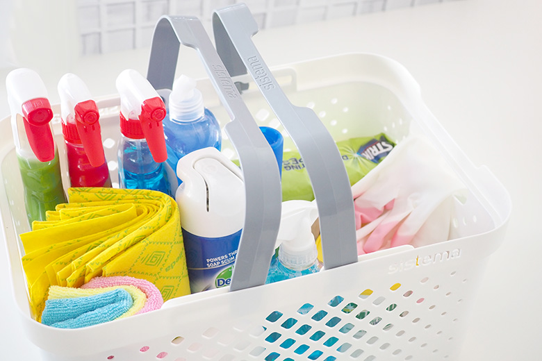 Home cleaning kit. Products to use for a spring clean.