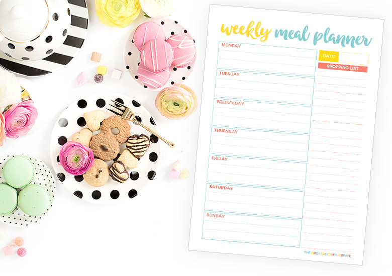 Weekly meal planner and shopping list downloadable