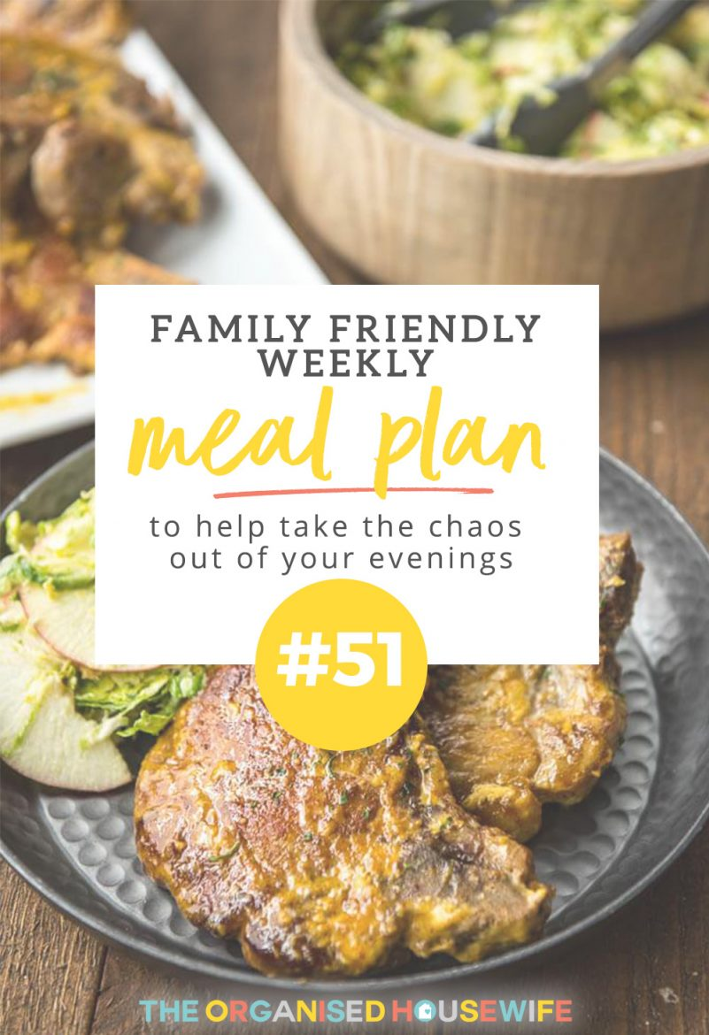 This family-friendly meal plan has a great balance of stuff for the kids alongside meals that Mum and Dad can really enjoy - including Honey Mustard Pork Chops that have a 5-year-olds tick of approval!