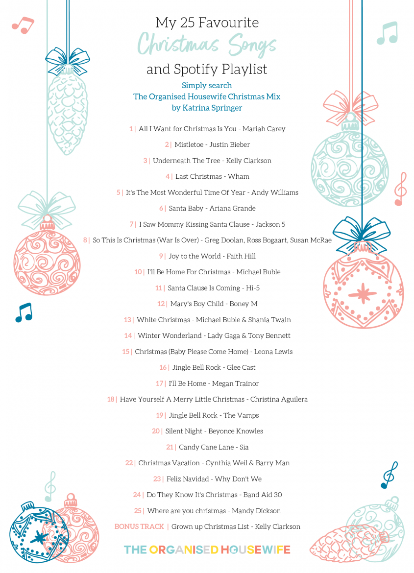 My 25 Favourite Christmas Songs and Spotify Playlist - The Organised ...