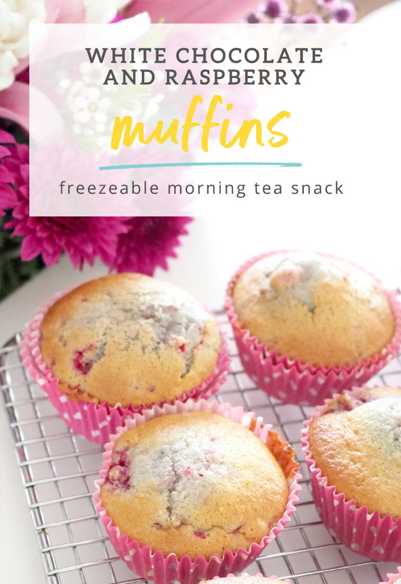 I love these deliciously moist White Chocolate and Raspberry Muffins recipe because they make 12 regular sized muffins plus 24 mini muffins, which are a great snack size for the bento lunchboxes. And... they are freezer friendly too!