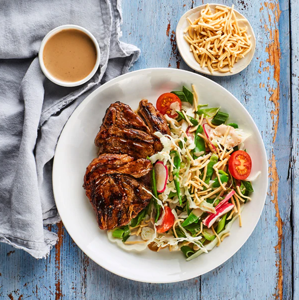 BBQ LAMB WITH SUMMER SESAME SALAD