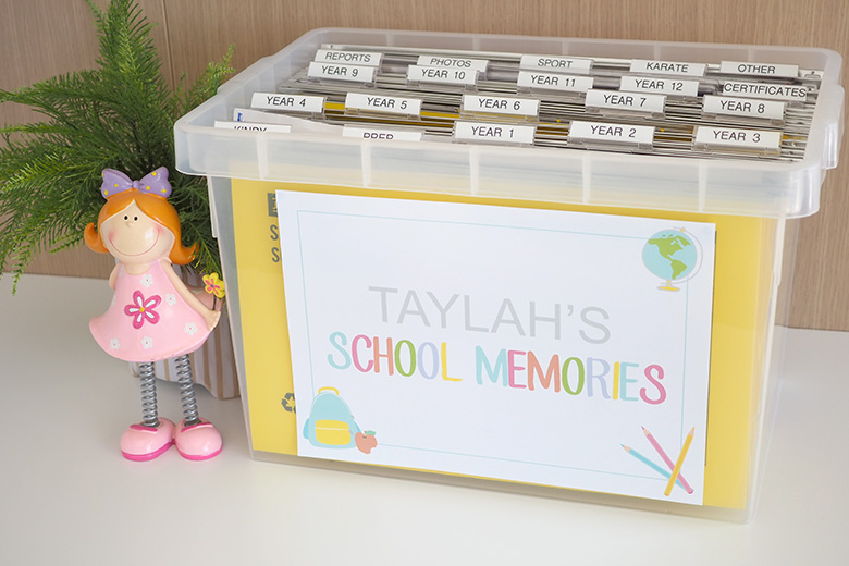 I'm such a sentimental mum and have kept so many school trinkets over the years. Here is the system I use to keep those special school keepsakes organised!