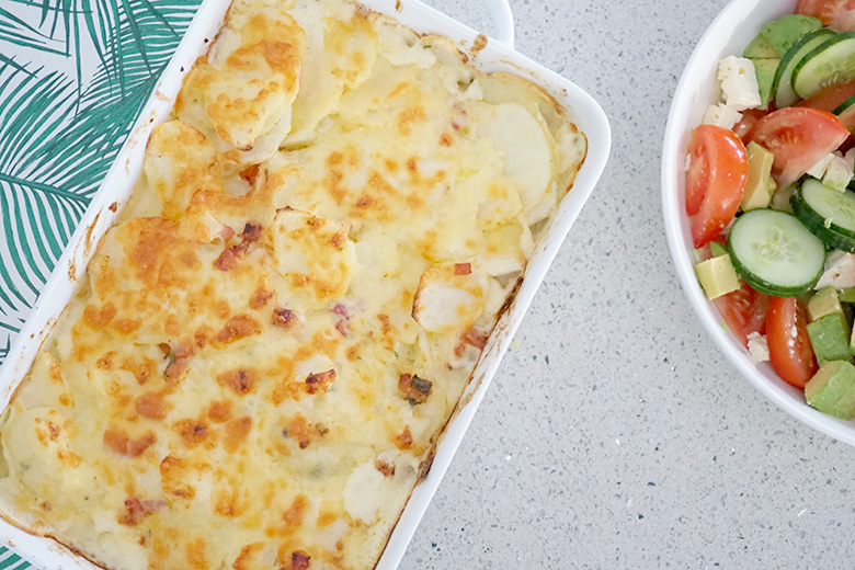 Easy tasty creamy potato bake recipe for meal planning