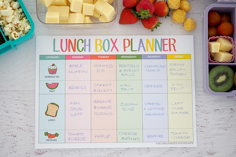 Lunch box planner pad for school lunches