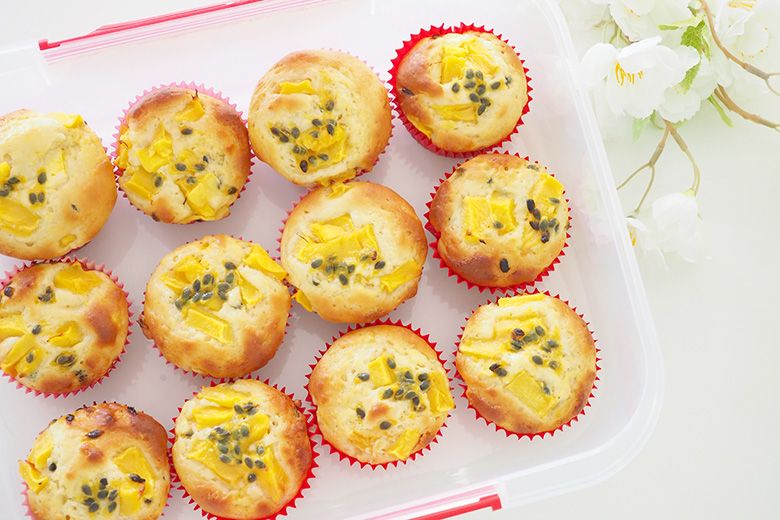 These Mango and Passionfruit Muffins are delicious, a little tangy and will have your mouth watering at every bite. Perfect for a lunch snack.