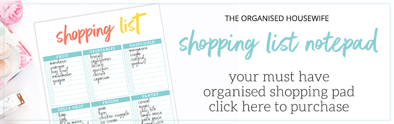 Shopping List Notepad for meal planning with The Organised Housewife