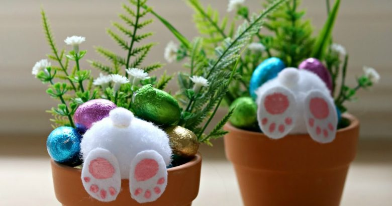 DIY Easter Craft Ideas for Kids in 2019. Bunny Bottom pot plants.