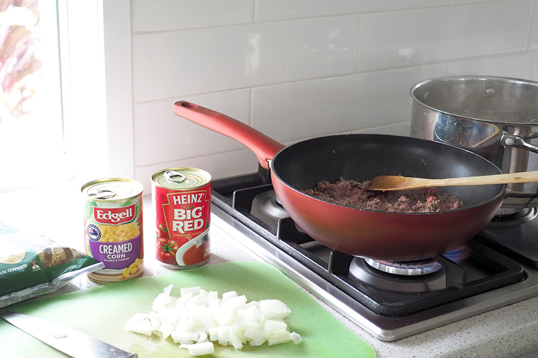 Beef mince for bolognese sauce pasta bake