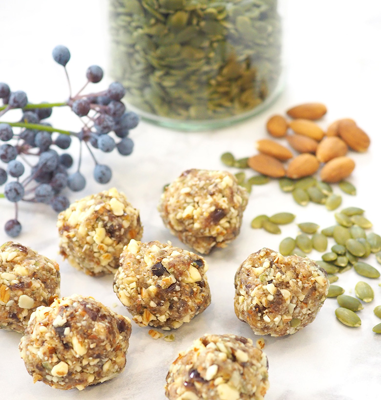 Healthy and delicious almond and pumpkin seed bliss balls