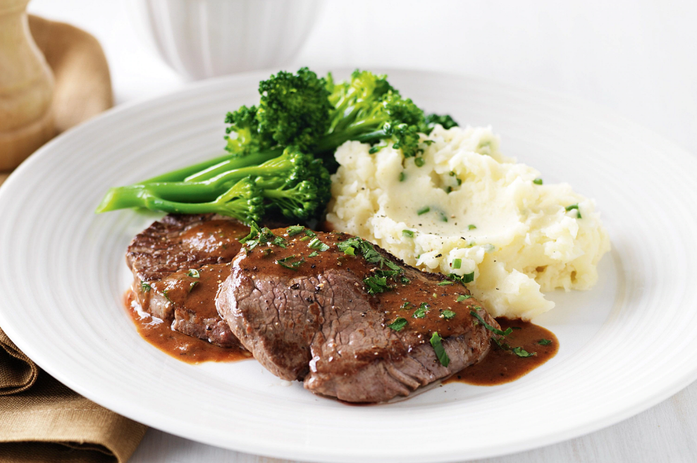 Steak with mash and veggies - family meal plan ideas