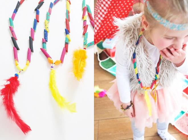 Pasta Necklace Craft Ideas for Children