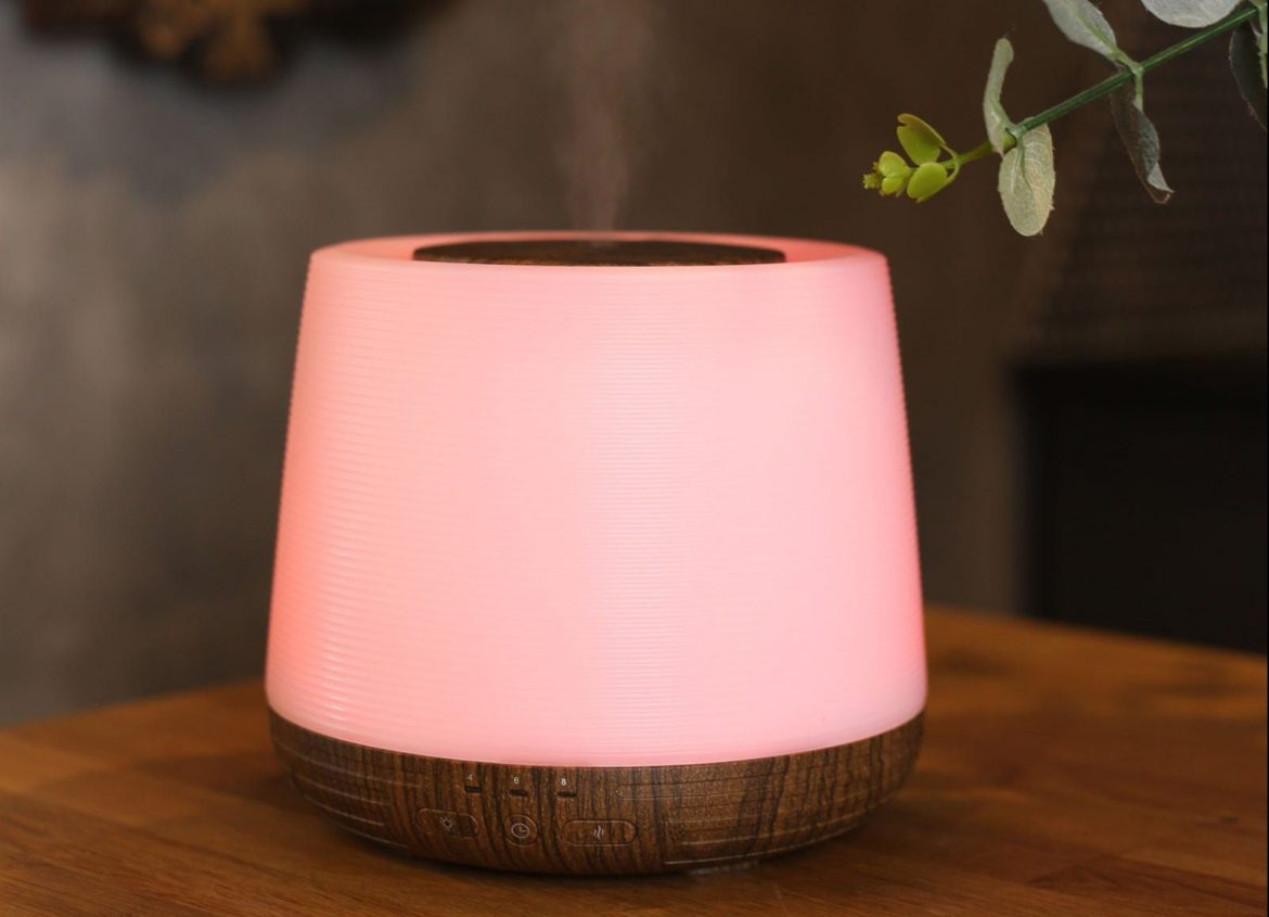 Red light oil diffuser for restful night sleep
