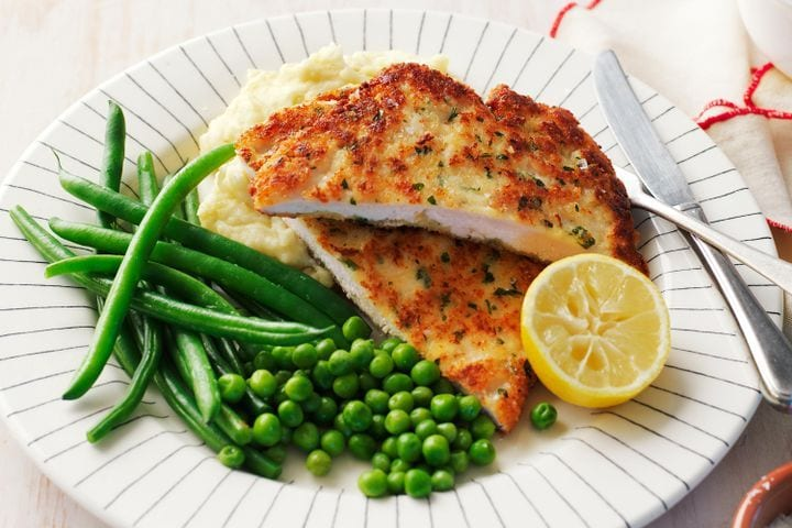 Chicken Schnitzel with Cheesy Mash, Beans and Peas recipe