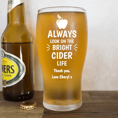 Fathers Day personalised cider beer glass gift idea