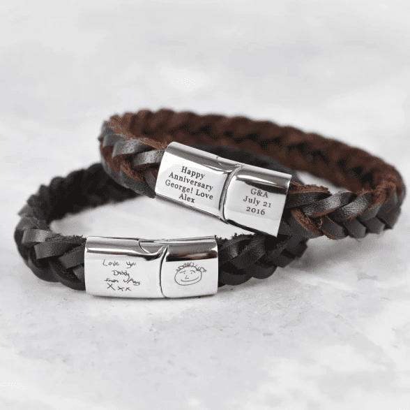 Engraved personalised leather bracelet for dad this Father's Day