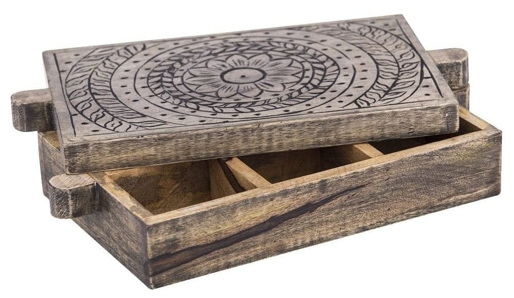 Wooden dried herbs and spices box