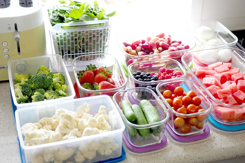 Oxo, Tupperware, and Decor fruit and veg food storage ideas
