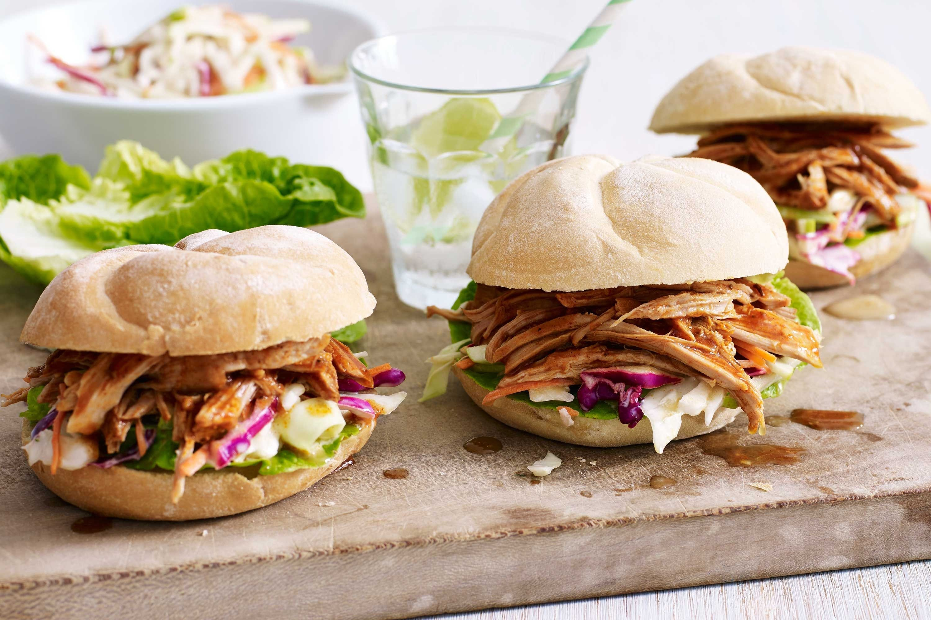 Maple Pulled Pork Burgers with Apple Slaw Recipe