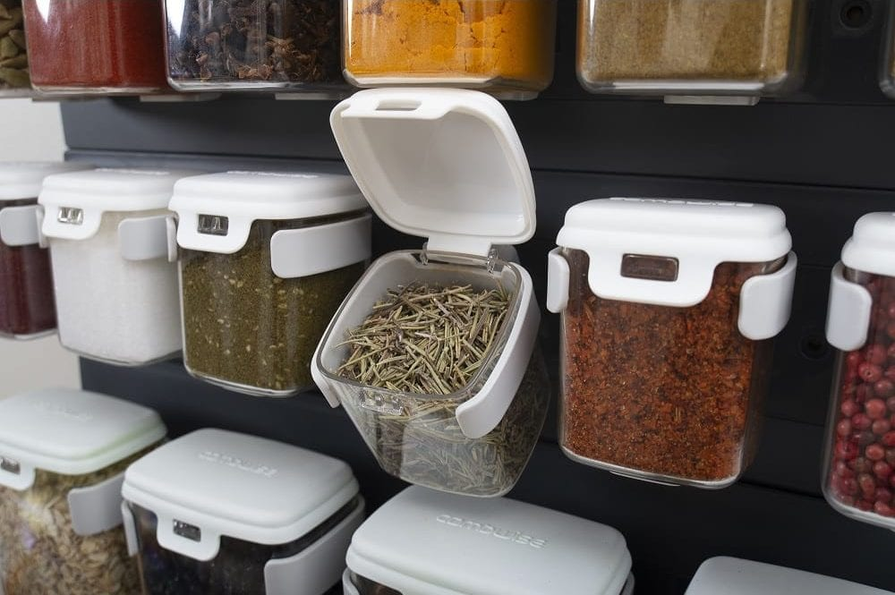 herbs and spices wall mounted storage idea