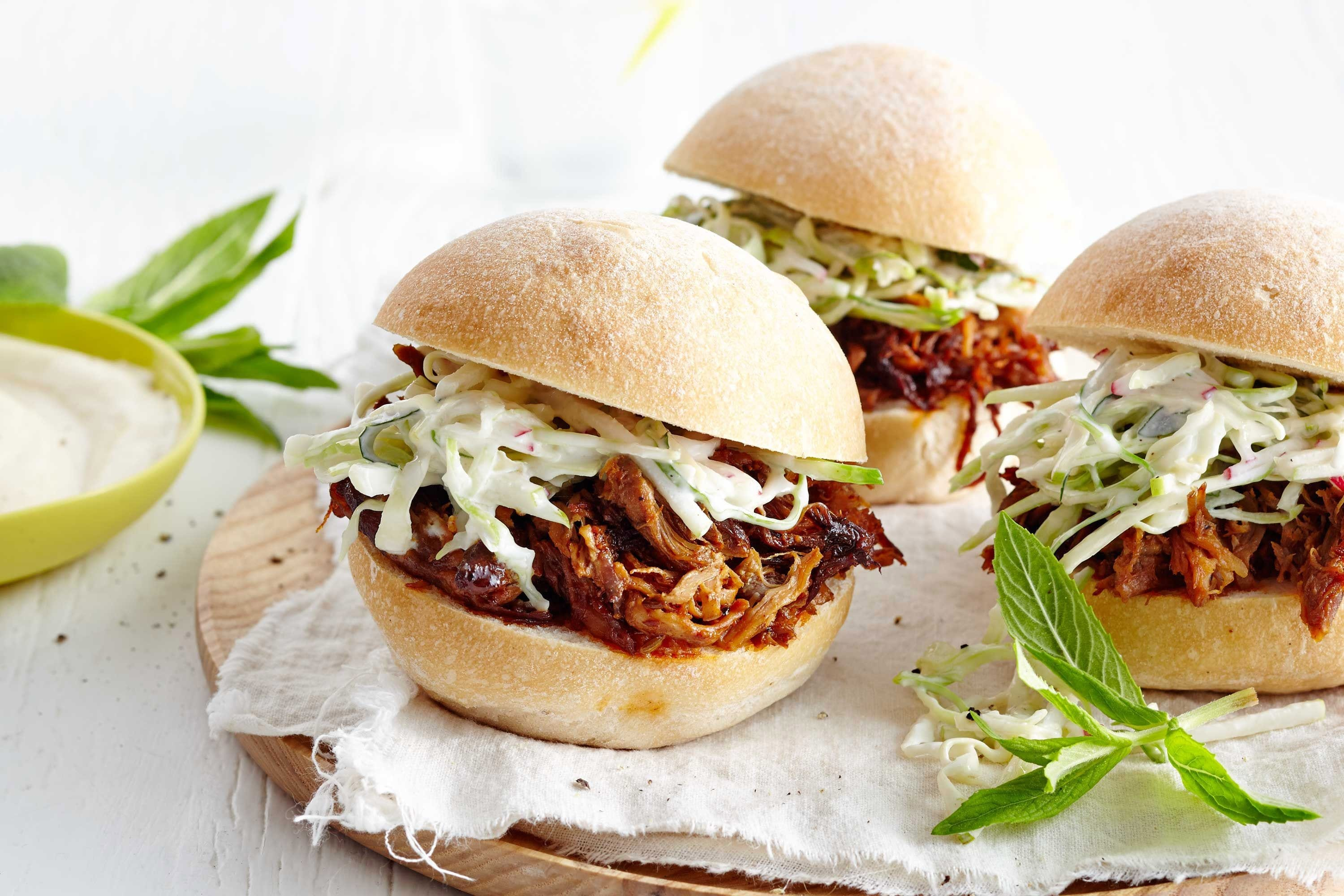 Pulled pork rolls with apple and radish coleslaw dinner meal planning