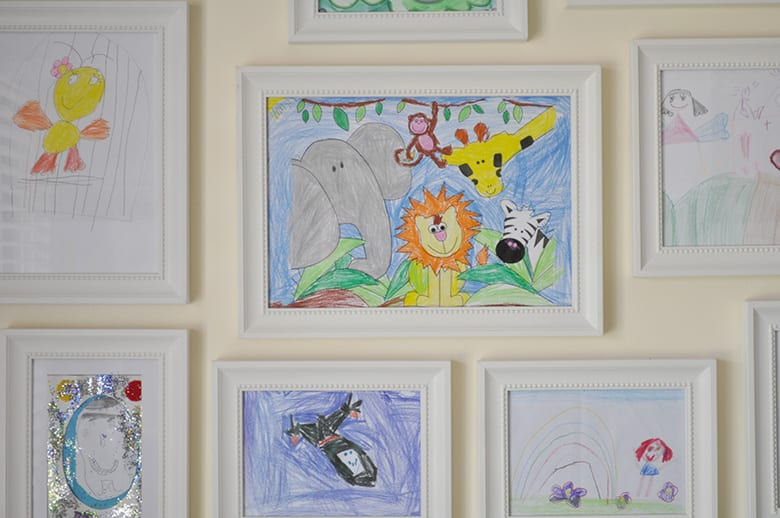 creative kids artwork wall - framed artworks