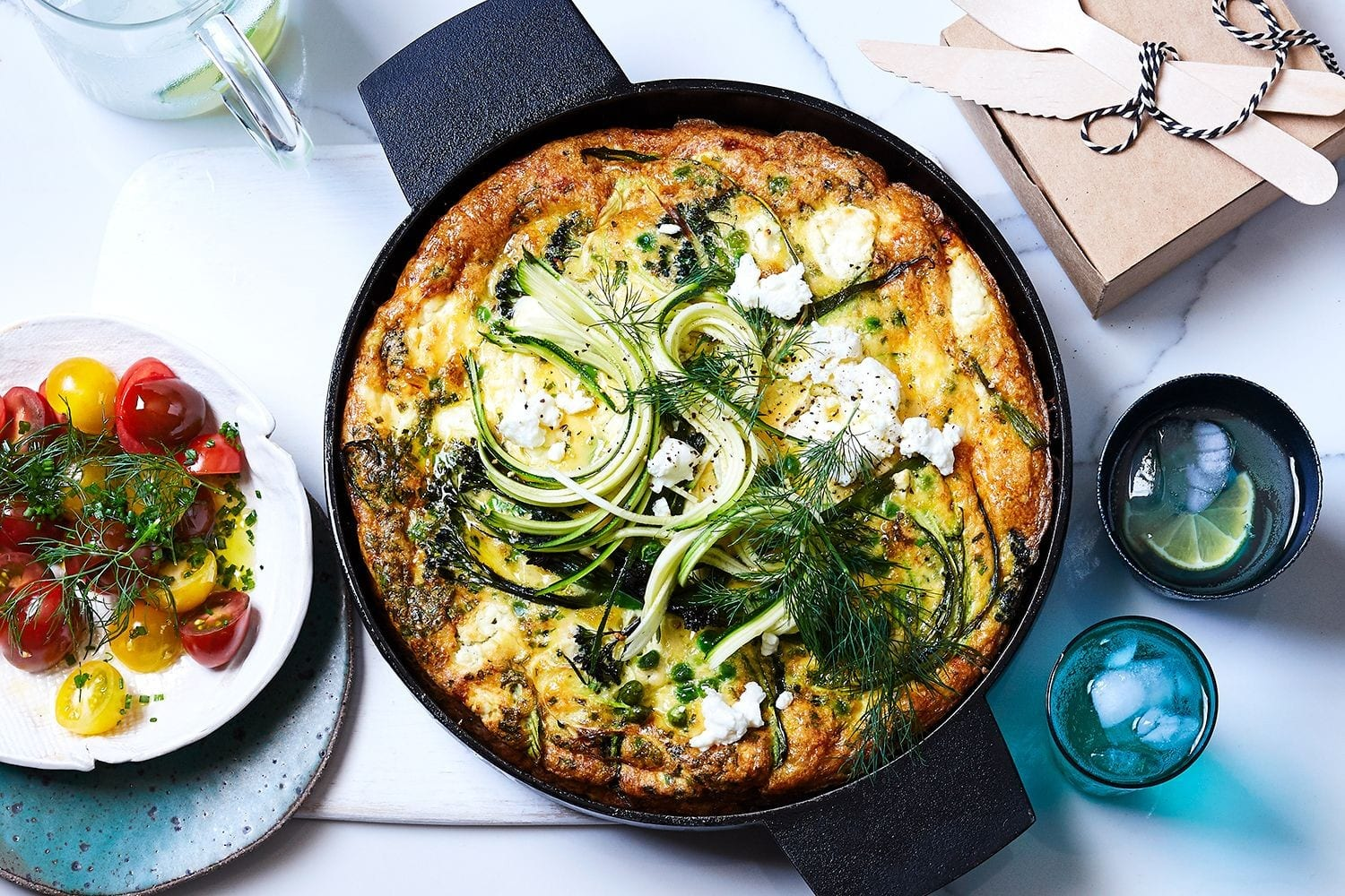Goat's cheese and vegetable frittata with tomato salad keto recipe