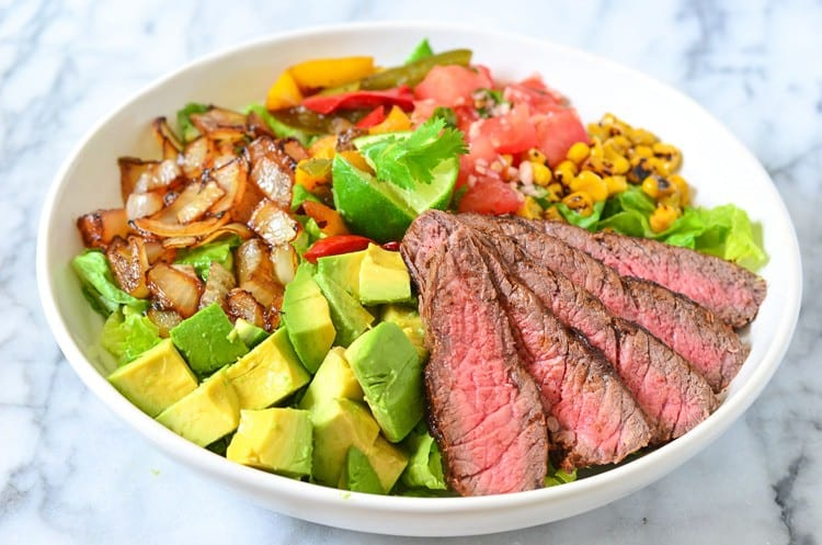 Avocado and Steak salad Keto meal plan dinner idea