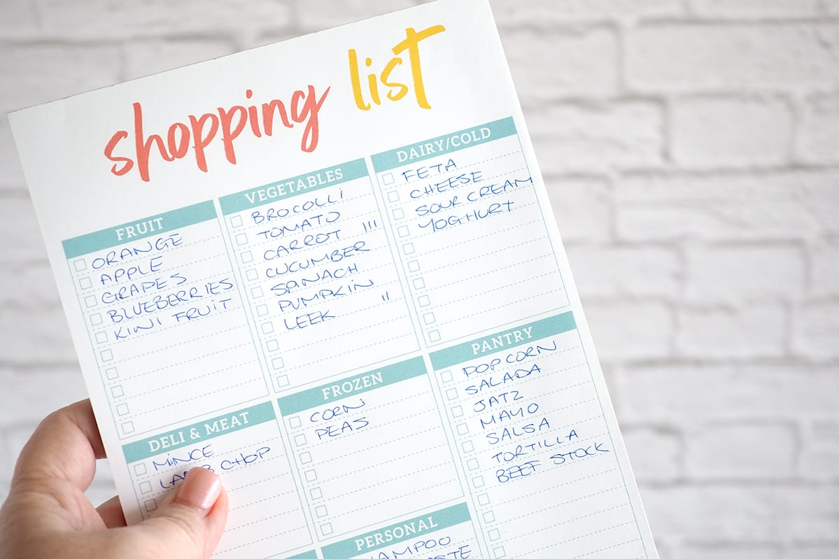 Shopping list with categories for easy supermarket shopping