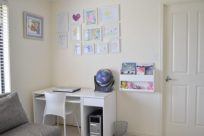 Kids artwork wall with framed art