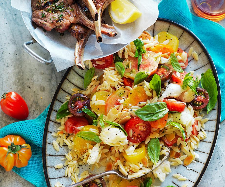 Lamb with heirloom tomato and almond salad recipe