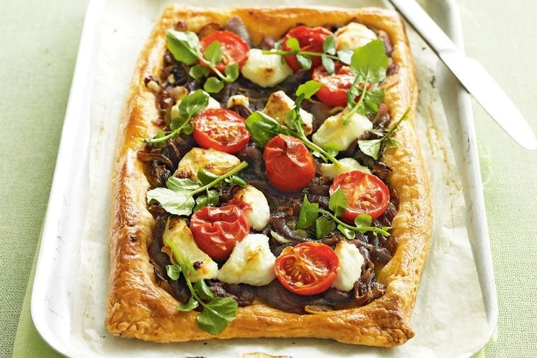 Goat cheese onion and cherry tomato tart vegetarian meal idea
