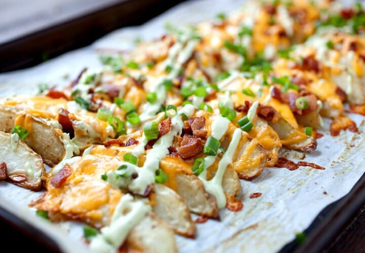 Loaded potato wedges recipe for family movie night